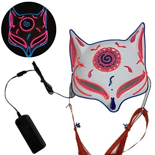JFSKD Halloween Maske LED Fuchs Maske Juli Halloween Karneval Karneval Party Kostüm Cosplay Dekoration,A