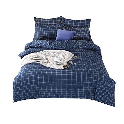 Sticker superb 135x200cm 1 Person Bettbezug Set mit Reißverschluss Blau Streifen Bettwäsche Set 100% Mikrofaser Polyester für Jungen Mädchen (Streifen Marine, 135x200cm für 1,2 m Bett)