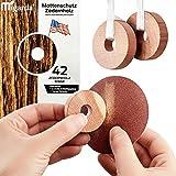 Migarda - Zedernholz Mottenschutz - 42x Ringe - 100% Bio - Mottenfalle zum Schutz vor Kleidermotten - Holz-Ringe für Kleiderschrank - Chemiefreie Mottenabwehr - inkl. E-Book