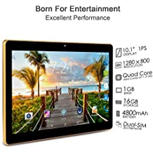 "Artizlee ATL-21T - 10.1"" Tablet Pc - Android 4.4.2, Quad-Core, 1280x800 IPS, Dual Sim, 3G, 1 GB RAM, 16 GB, Cámara 5.0MP, WiFi, Bluetooth, OTG, con Protector de Pantalla y Manual en Español, (Negro)"