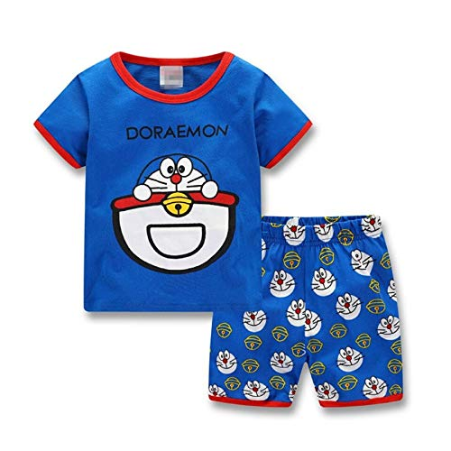1a823a930d770 Lovely Summer Cotton Doraemon Children Clothing, Short Sleeve Tops+Shorts  Kids Pajamas Set Sleepwear