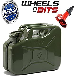 10L Litre GREEN JERRY MILITARY CAN FUEL OIL WATER PETROL DIESEL RED BLUE GREEN WITH SPOUT