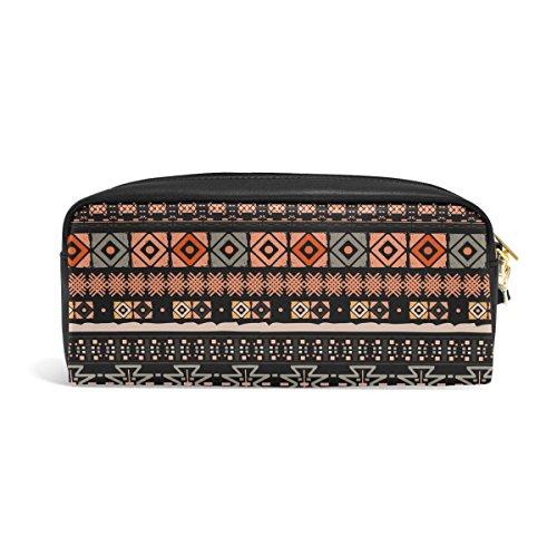 zzkko Tribal étnico bohemio funda de piel cremallera lápiz pluma estacionaria bolso de la bolsa de cosméticos bolsa bolso de mano