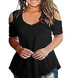 Damen Sommer T-Shirt Kurzarm Schulterfrei Bluse Oberteil Casual Tops Lose V-Ausschnitt Shirt (L, Schwarz)