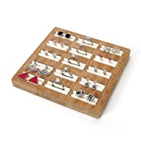 Jolicobo Jewellery Display Tray, Wooden and PU Leather Earrings and Rings Tray, Jewellery Organiser for Count Window, Home(White, Square)