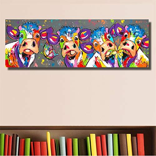 FENGCLOCK Colorear Chorro de Tinta el Grafiti Animal Cuadro en Lienzo, Pintura al óleo Vaca Wall Art Modular Poster Cuadros Modernos Decoración Salón Poster,50x150cm