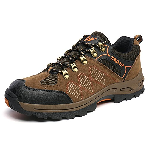 JEDVOO Scarpe da trekking ed escursionismo unisex colore kaki arancione