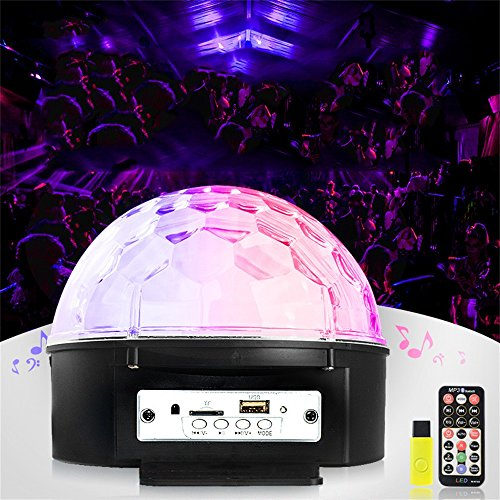 Light Crystal Strobe (9-Color Bluetooth Processing Bühnenbeleuchtung, DJ Lights, Crystal Spin Musik Aktivieren Magic Ball Fernbedienung MP3-Player Und Für Disco Christmas Club KTV Club Verwendet, Feier Birthday Bar Karaoke Xma)