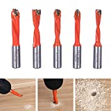Forstnerbohrer Set,HOMEIDOL,5 teilig CNC Left Roation Forstnerbohrer Scharnierbohrer Set Bande Bohrer Holz Hartmetall Endfräser Router Bit 6/7/8/9/10mm(Orange)