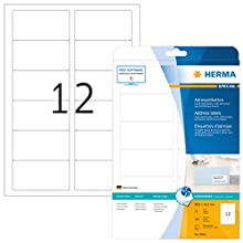 HERMA Self Adhesive Address Mailing Labels, 12 Labels Per A4 Sheet, 300 Labels For Inkjet Printers, 88.9 x 46.6 mm (8842)