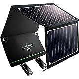 RAVPower 16W Solarladegerät Outdoor Charger mit 2 iSmart-USB-Port (21,5-23,5% Sonnenlichtumwandlung, leicht, faltbar, wasserdicht, 4 Löcher zur Aufhängung) für Camping Wanderung Bergsteigerei / Disaster Prevention für Andriod Smartphone Tablets Apple iPhone iPad usw.