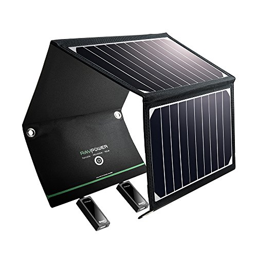 RAVPower Solar Ladegerät 16W, 2 Port USB Solarladegerät Outdoor Charger mit 21,5-23,5% Umwandlungseffizienz, Leicht, Faltbar, Wasserdicht, Kompatibel mit Allen Handys, iPad, Kamera usw.