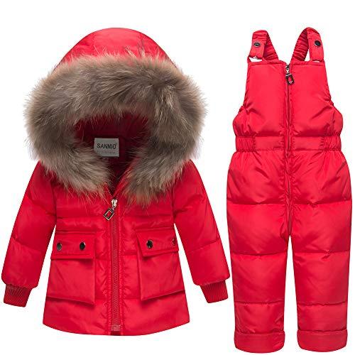 SANMIO Baby Mädchen Jungen Daunenjacke Schneeanzug mit Kaputze Bekleidungsset Kinder Verdickte Winterjacke + Winterhose Kleinkind Daunenhose Kinderskianzug