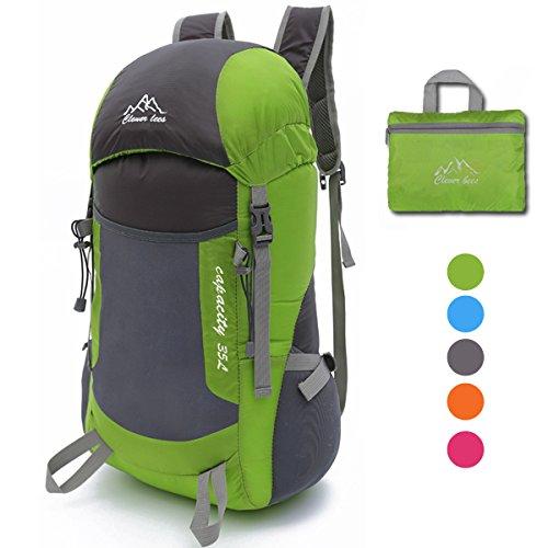 35L Ultraleicht Faltbare Wanderrucksäcke Rucksäcke, NATUCE Multi-Funktionale Stopfbare Wasserdichte Casual Camping Tagesrucksack für Outdoor-Sport Klettern Bergsteiger - Grün