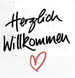 """20 Servietten """"Herzlich Willkommen"""" / Größe: 33x33cm"""