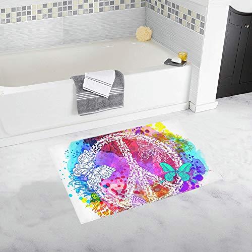 YXUAOQ Símbolo de Hippie de la Paz sobre Alfombra de baño Antidesliz