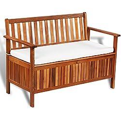 vidaXL banco de almacenamiento madera acacia