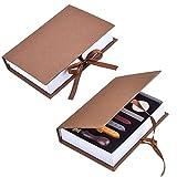 Jazzka Wachssiegel-Stempel-Set, Geschenk-Box-Set mit 5Umschlägen, Retro-Buchstaben und antikem Holzgriff, für Briefe, Logos, Hochzeitseinladung