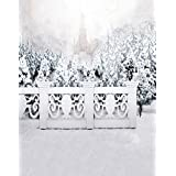 A.Monamour Scenic Winter White Snow Trees With Rimes Hoarfrost Christmas Holiday Mural Party Wall Decorations Vinyl Fabric Photography Backdrops 5x7ft - Castle In Snow World