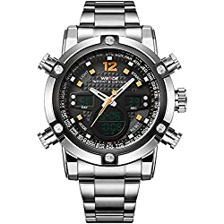 WEIDE Men's Sport Military Analogue Digital Quartz Stainless Steel Watch with Dual Time Auto Date (Orange)
