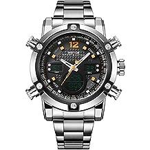Weide - Reloj militar deportivo, con esfera de cuarzo digital, acero inoxidable, hora dual y fecha automática, color naranja