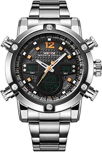 WEIDE Herren Sport Military Analog Digital Quarz Edelstahl Armbanduhr mit Dual Time Auto Datum (orange)