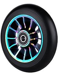 Pro de repuesto 100mm rueda para patinete con rodamientos ABEC 9rodamientos ajuste para MGP/Razor/Lucky Pro scooters, arco iris