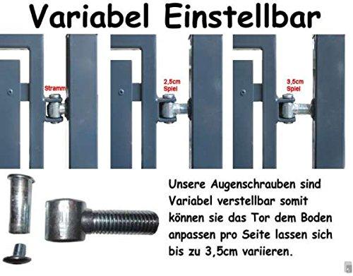 Einfahrtstor Toranlage 3-flügelig Grau Tor Hoftor Doppel Gartentor 350cm x 143cm