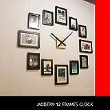 HOMELOO Moderne Uhr mit 12 Foto-/Bilderrahmen, aus Holz, Wanduhr (Schwarz)