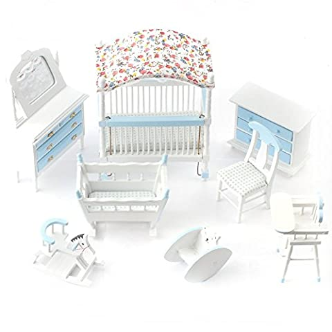 1:12 Scale Dolls House Miniatures Blue Nursery Furniture Set DF899B