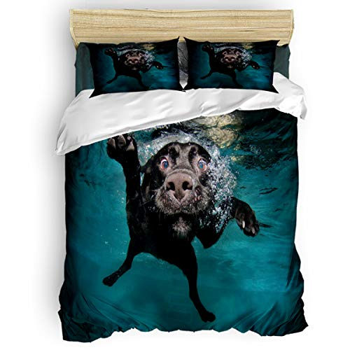 KAROLA Bettbezug-Set aus leichtem Mikrofaser, 4-teilig, luxuriös, hypoallergen, Bettdeckenbezug mit Reißverschluss, lustiges Motiv Labrador Hund Ocean Twin Size Dog7ala4725 (Bettwäsche Hund Twin)