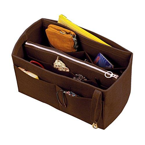 [Passt Neverfull MM/Speedy 30, Dunkelbraun] Filz-Organizer (w/abnehmbare Reißverschluss-Tasche), Tote-Filz-Geldbörse-Einsatz, Kosmetik-Make-up-Windel-Handtasche, Reißverschluss-Taschen (Vuitton Braun Louis Monogram)