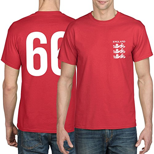 Retro 1966 England Football Shirt - Three Lions, Front and Back Print, World Cup, Russia 2018, 1966 Shirt