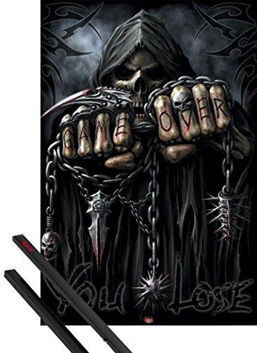 1art1 Poster + Hanger: Gothic Poster (91x61 cm) Spiral, Game Over, Sensenmann Inklusive EIN Paar Posterleisten, Schwarz (Game Over Poster)