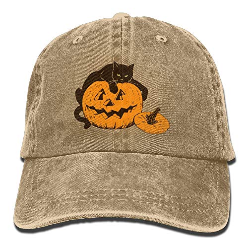 Männer & Frauen Katze auf Kürbis Halloween Einstellbare Vintage Washed Denim Baumwolle Papa Hut Baseballmützen Rot
