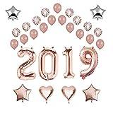 ICheap 2019 Neujahr Deko Konfetti Luftballons Rosegold, 2019 Ballons Dekoration Set, Party Deko für Silvester, Jubiläum, Graduierung, Geburtstag, Hochzeit oder Universität Event Dekoration
