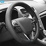 NIKAVI Microfiber Leather Auto Car Steering Wheel Cover Universal 15 inch
