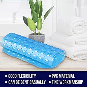 Bathtub Mats Non Slip Mildew Resistant, Extra Long Bath Tub Mat Nonslip Matts with Suction Cup for Bathroom, Bath Mat Kids , Machine Washable, 100 x 40cm, Blue