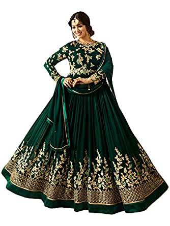 Ethnic Yard Semi-Stitched Free Size Faux Georgette heavy Embroidred and Hand work Anarkali salwar suit