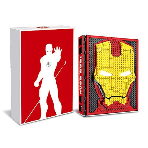 LABULA Iron Man-Baubuch,Iron Man Figur Gedenkhandbuch,LED Auge Licht,Eingebaute 52 Figuren,Zur Abholung Geeignet, Jungen Mädchen