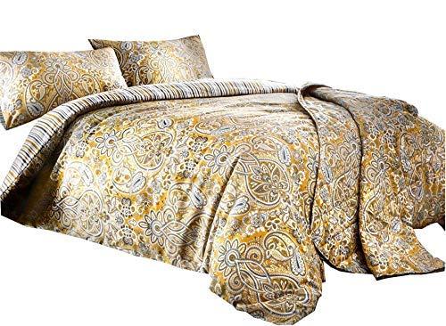 Türkisch Gemustert Gestreift Ocker Gold Weiß Baumwollmischung Einzelbett Bettbezug & Vorhänge Ringaufhängung