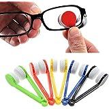 zeuxs 5pcs Oficina en casa Mini gafas para el sol soporte para gafas, diseño de microfibra cepillo limpiador paño de limpieza
