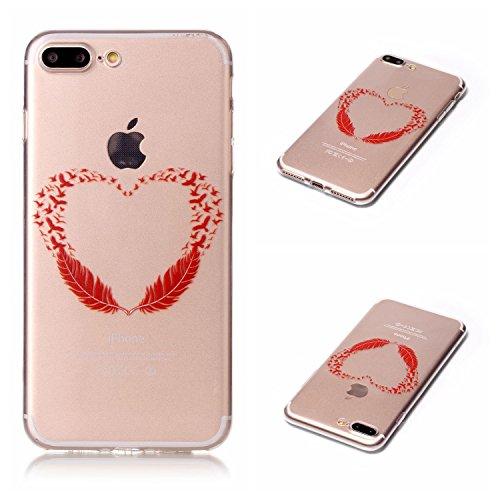 Qiaogle Telefon Case - Weiche TPU Case Silikon Schutzhülle Cover für Apple iPhone 7 (4.7 Zoll) - LF08 / Fuck You LF11 / Rote Feathers