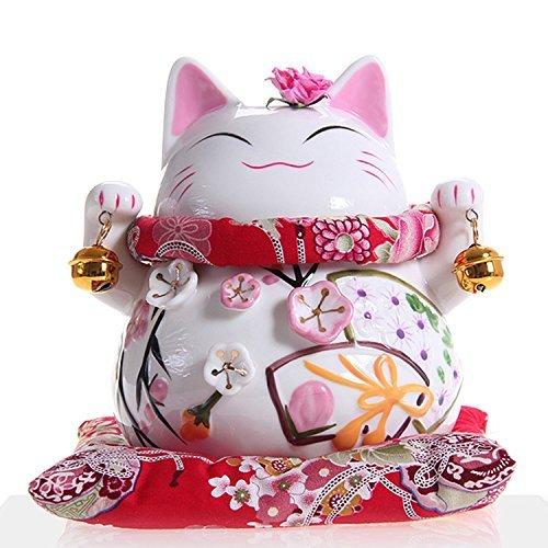 Maneki Neko - afortunado japonés del gato de porcelana con dos campanas - de alta calidad, porcelana muy ornamentado, como una alcancía y encanto afortunado (medio (15 cm))