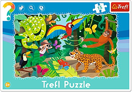 Trefl - Puzzle avec Cadre la Forêt Tropicale 15 Pièces, 31219U