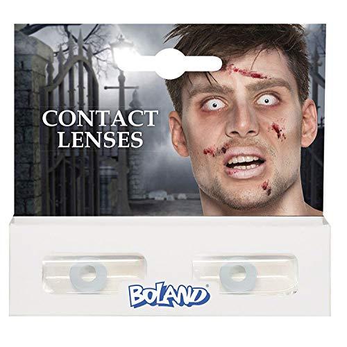 Boland Farbige Kontaktlinsen für 3 Monate, Zombie, weiß, Ohne Sehstärke, Monatslinsen, 2 Stück