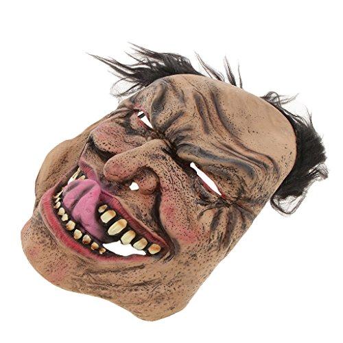 Baoblaze Horrormaske Clown Hexe und Zombie Latex Maske Halloween Cosplay und Karneval Kostüm Accessoires, Eine Größe für alle Menschen, Bequem und Atmungsaktiv - Elender Mann