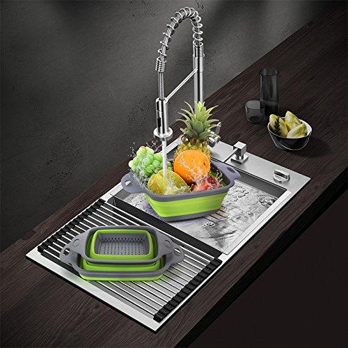 prezzo Pieghevole Collapsible Kitchen Colander 2 pezzi piazza pieghevole lavaggio ciotola Set di filtri in silicone Filtro cestello 2 dimensioni (Verde)
