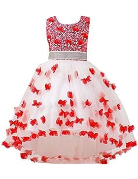 Ragazza Abito Tulle Petalo Principessa Compleanno Tutu Elegante Abito da Sposa per Bambina