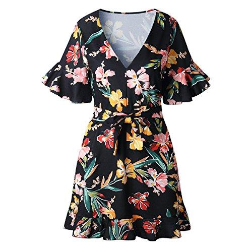 Chennie Frauen gedruckt Minikleid Sommer sevy V-Ausschnitt ausgestellte Ärmel floral gekräuselten Shorts Kleid